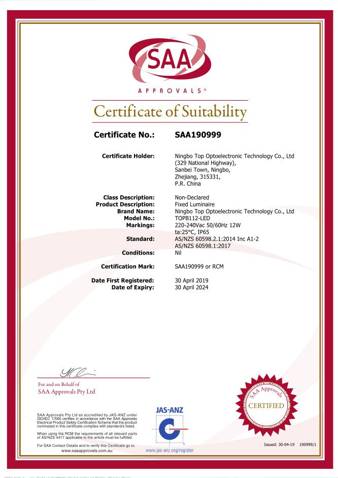 Certificate ND 190999 s