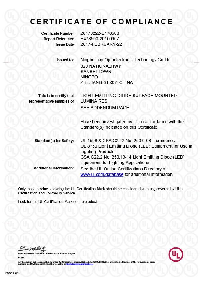 LED UL Safety Certification